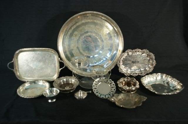 3: 13-PIECE MIXED LOT OF SILVERPLATE SERVING PIECES