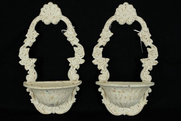 5: PAIR OF PAINTED CAST IRON WALL HANGING PLANTERS