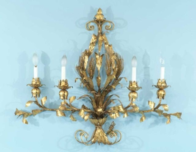 17: FOUR-LIGHT GILDED METAL WALL SCONCE