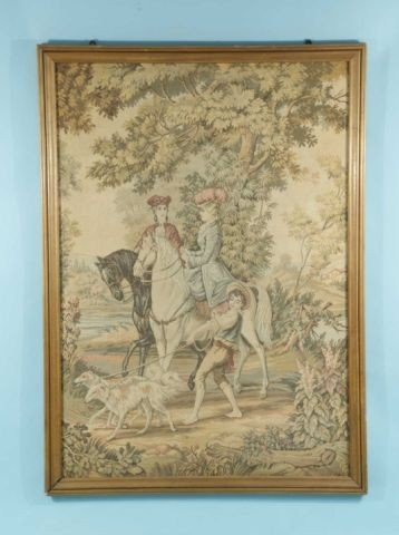 18: VINTAGE FRAMED MACHINE MADE TAPESTRY OF TWO FRENCH