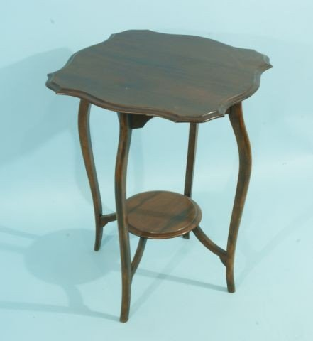 20A: ANTIQUE MAHOGANY QUEEN ANNE TIERED LAMP TABLE