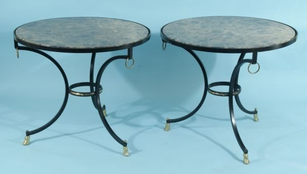 63: PAIR OF IRON GUIRIDON TABLES WITH MARBLE TOP