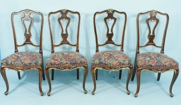 278: SET OF FOUR ANTIQUE LOUIS XV STYLE SIDE CHAIRS