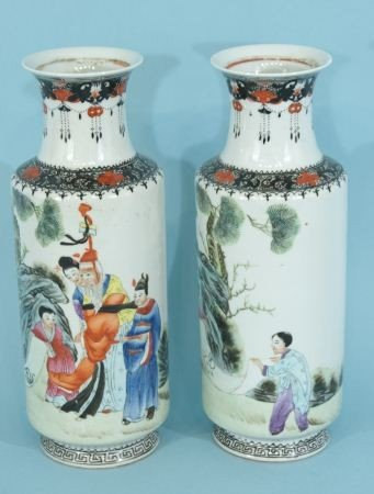 1: PAIR OF CHINESE PORCELAIN VASES