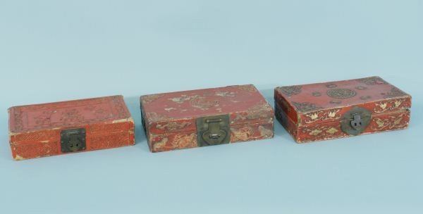 2: THREE ANTIQUE CHINESE RED LACQUER BOXES