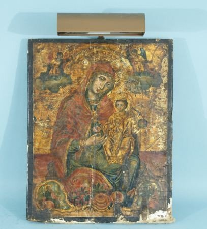 3: LATE 18th CENTURY GREEK MOTHER OF GOD & JESUS ICON