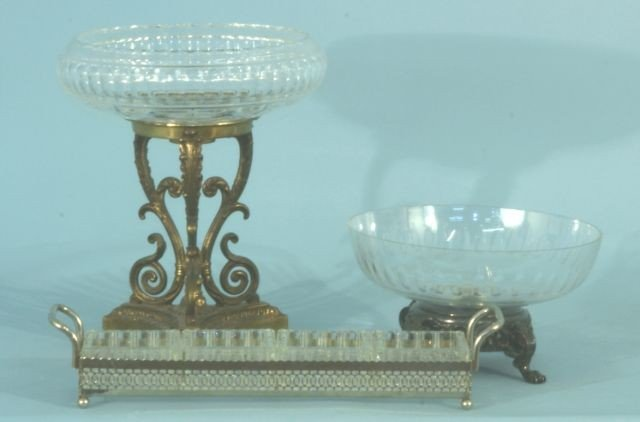 7: LOT OF THREE GLASS AND SILVERPLATE SERVING PIECES