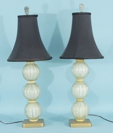 10: PAIR OF MURANO GLASS LAMPS WITH BLACK SHADES