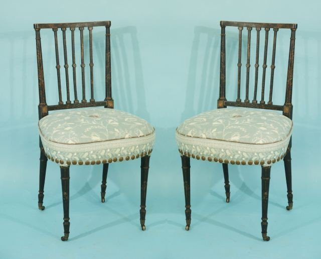 13: PAIR OF PERIOD SHERATON SIDE CHAIRS, CIRCA 1780