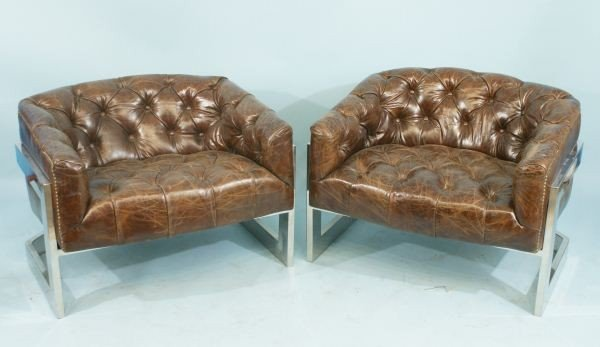 15: PAIR OF LEATHER BUTTON-TUFTED CLUB CHAIRS