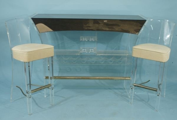 15D: VINTAGE MID-CENTURY STYLE LUCITE BAR AND STOOLS