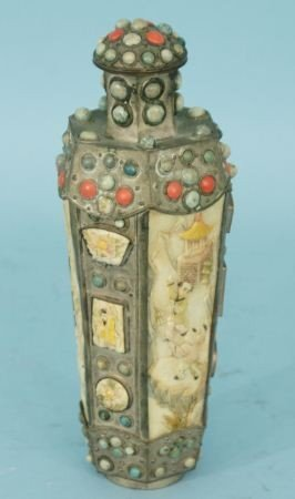 20: LARGE IVORY SNUFF BOTTLE WITH SILVER & STONES