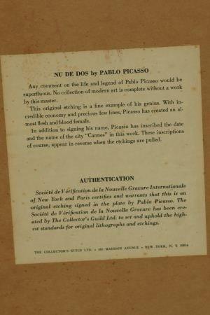 """30F: PABLO PICASSO """"FEMME NU DE DOS"""" ETCHING, 1956 - 4"""