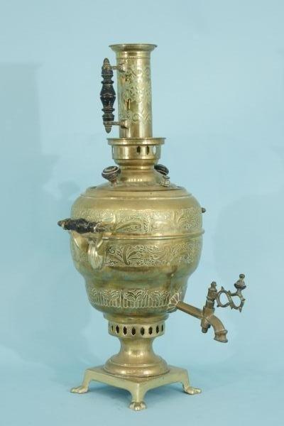 119: ANTIQUE BRASS TURKISH COFFEE POT URN, CIRCA 1880 - 2