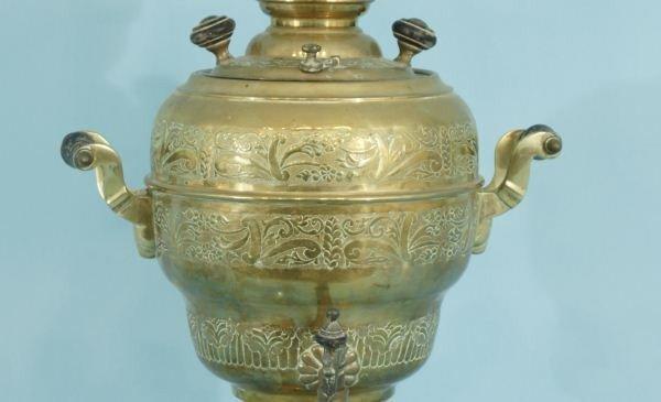 119: ANTIQUE BRASS TURKISH COFFEE POT URN, CIRCA 1880 - 3