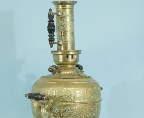 119: ANTIQUE BRASS TURKISH COFFEE POT URN, CIRCA 1880 - 4