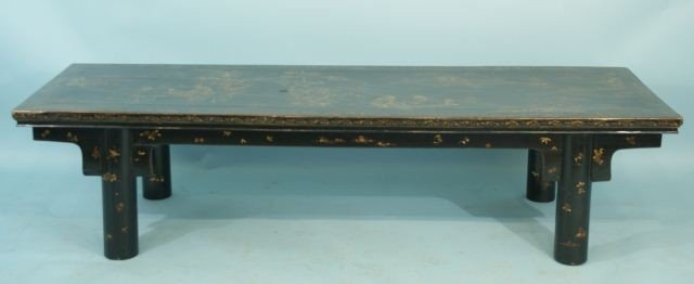 18: ANTIQUE LONG LOW BLACK LACQUER & GILDED CHINESE TA