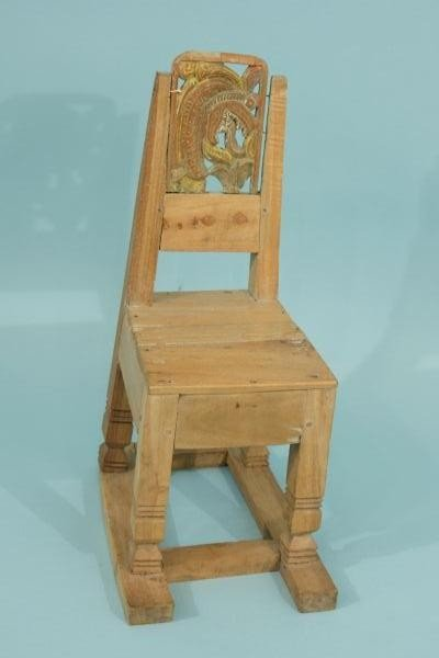 2: ANTIQUE CHILD'S CARVED CHAIR WITH SERPENT MOTIF