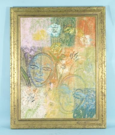 "20: HUNT SLONEM ""ABSTRACT FACES"" PAINTING, 2003"