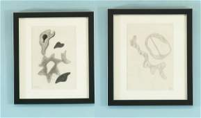 40B JEAN ARP TWO ABSTRACT DRAWING PENCILCHARCOAL