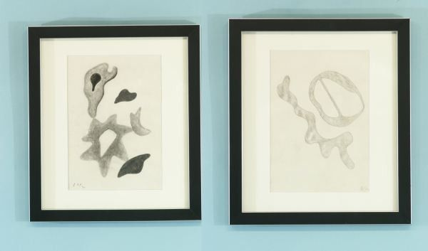 "40B: JEAN ARP, TWO ""ABSTRACT DRAWING"" PENCIL/CHARCOAL"