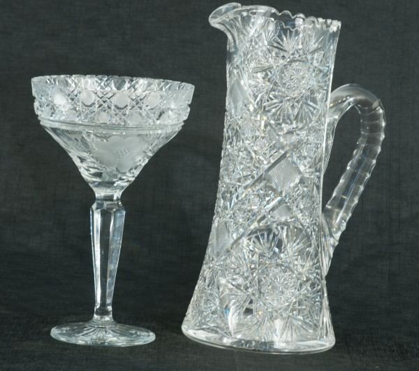 1: CUT CRYSTAL COMPOTE AND LARGE PITCHER