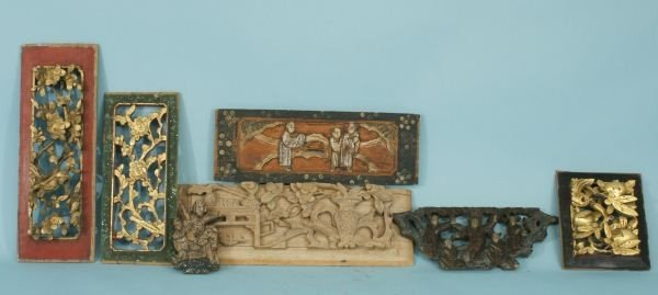 3: SEVEN ORIENTAL WOOD CARVED PANEL PIECES
