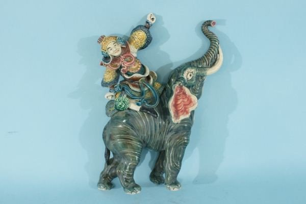 4: ANTIQUE CHINESE ELEPHANT AND WARRIOR ROOF TILE