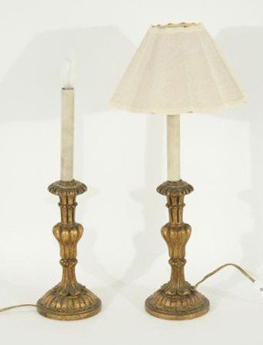 9: PAIR OF ANTIQUE GILDED FRENCH CANDLESTICK LAMPS