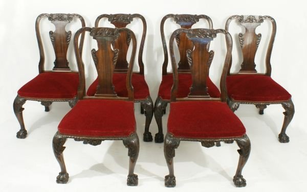 16: SIX CHIPPENDALE DINING SIDE CHAIRS, CIRCA 1880