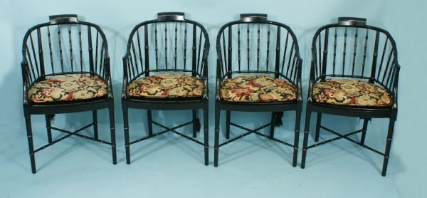 22: LOT OF FOUR FAUX BAMBOO BAKER WINdSOR CHAIRS