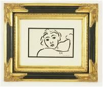 "40C: HENRI MATISSE ""PORTRAIT D FEMME"" BRUSH INK DRAWING"