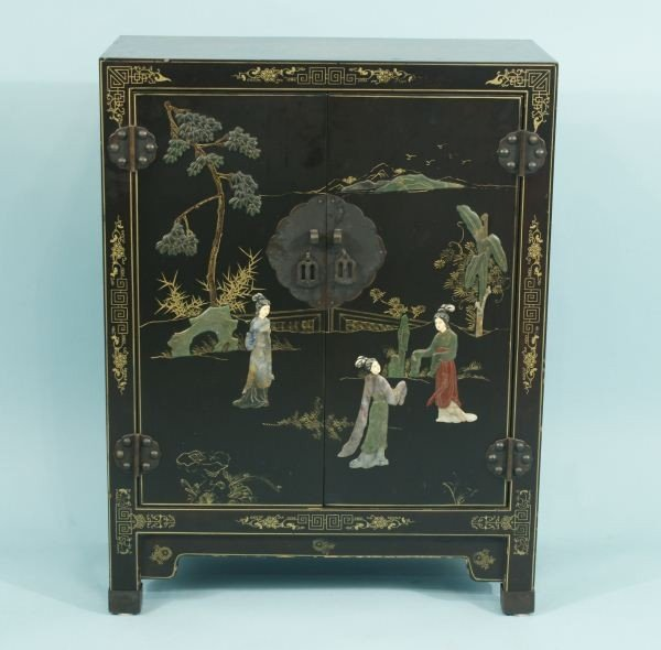 5: VINTAGE BLACK LACQUER CHINESE CABINET