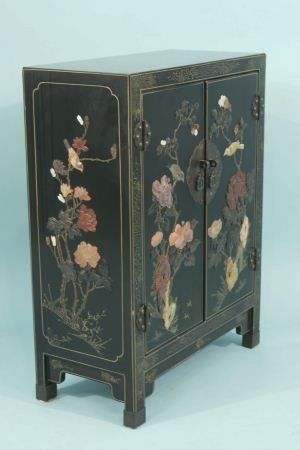 6: VINTAGE BLACK LACQUER CHINESE CABINET