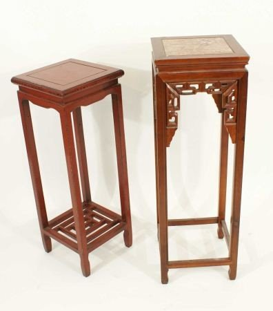 7: LOT OF TWO ORIENTAL RED LACQUER PEDESTAL TABLES