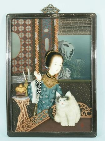 12: REVERSE GLASS PAINTING OF WOMAN WITH A CAT