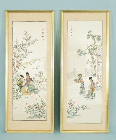 13: PAIR OF FRAMED CHINESE EMBROIDERY ON SILK