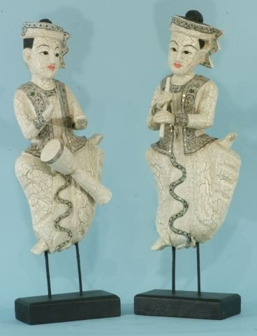 18: TWO INDONESIAN WOOD MUSCIANS FIGURES ON STAND