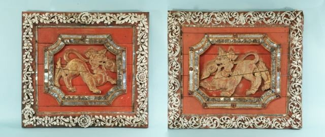 22: ANTIQUE THAI ARCHITECTURAL CARVED TEMPLE FRAGMENTS