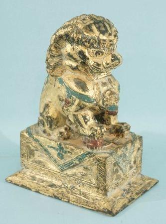 1: WOOD CARVED & POLYCHROMED FOO LION SCULPTURE