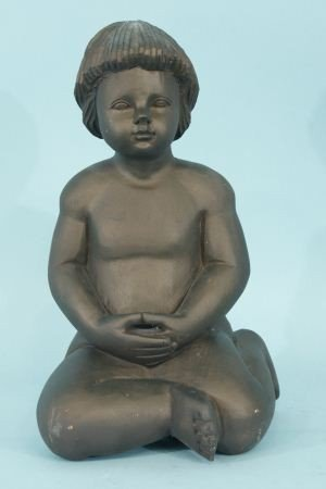 2: WOOD CARVED SEATED CHILD SCULPTURE