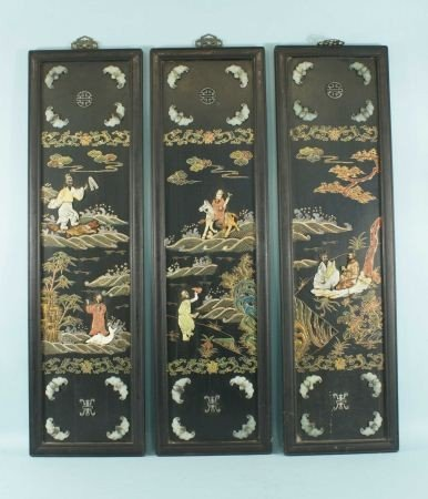 3: THREE CHINESE BLACK LACQUERED PANELS