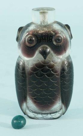 6: CUT GLASS OWL SNUFF BOTTLE