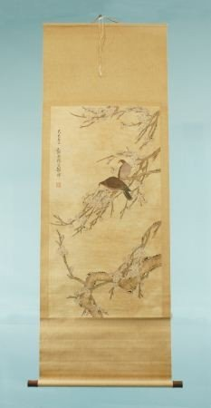 """8: VINTAGE CHINESE """"BIRDS ON BLOSSOMS"""" SCROLL PAINTING"""
