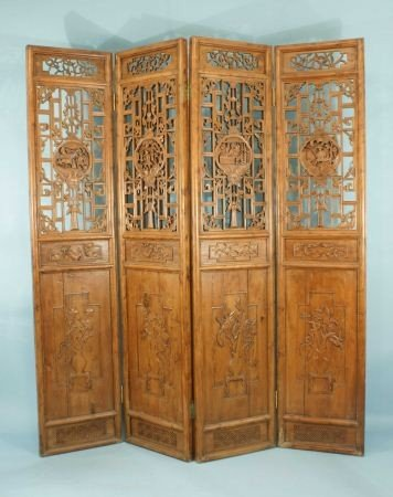 14: ANTIQUE FOUR-PANEL CHINESE WOOD CARVED SCREEN