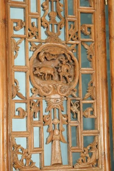 14: ANTIQUE FOUR-PANEL CHINESE WOOD CARVED SCREEN - 2