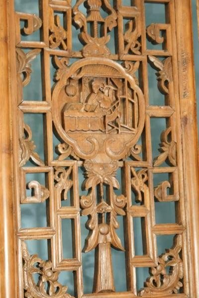 14: ANTIQUE FOUR-PANEL CHINESE WOOD CARVED SCREEN - 4