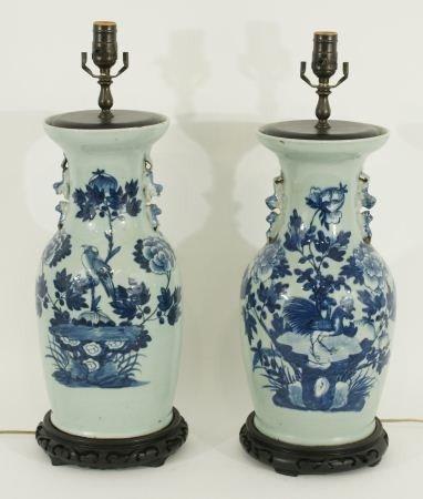 15: PAIR OF ANTIQUE CHINESE BLUE & CELADON PORCELAIN V