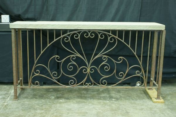 23: WROUGHT IRON BASE SLATE TOP CONSOLE TABLE