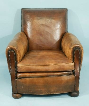 52: DISTRESSED TAN LEATHER FRENCH CLUB CHAIR c. 1930 - 3